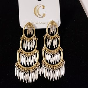 Charming charlie gold and silver fringed earrings
